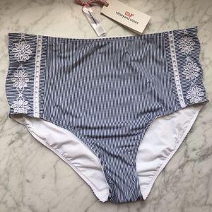 Vineyard Vines Striped High-Waist Bikini Bottom